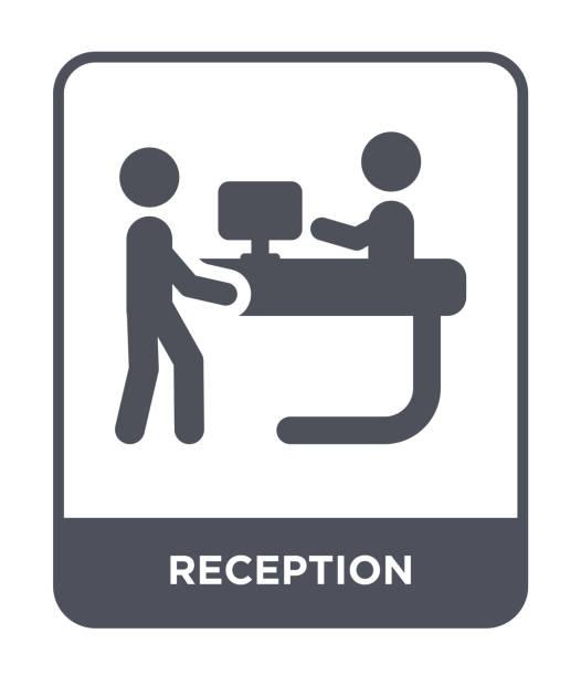 resepsiyon simge vektör beyaz zemin üzerine, resepsiyon trendy icons collection: otel ve restoran dolu. - hotel reception stock illustrations