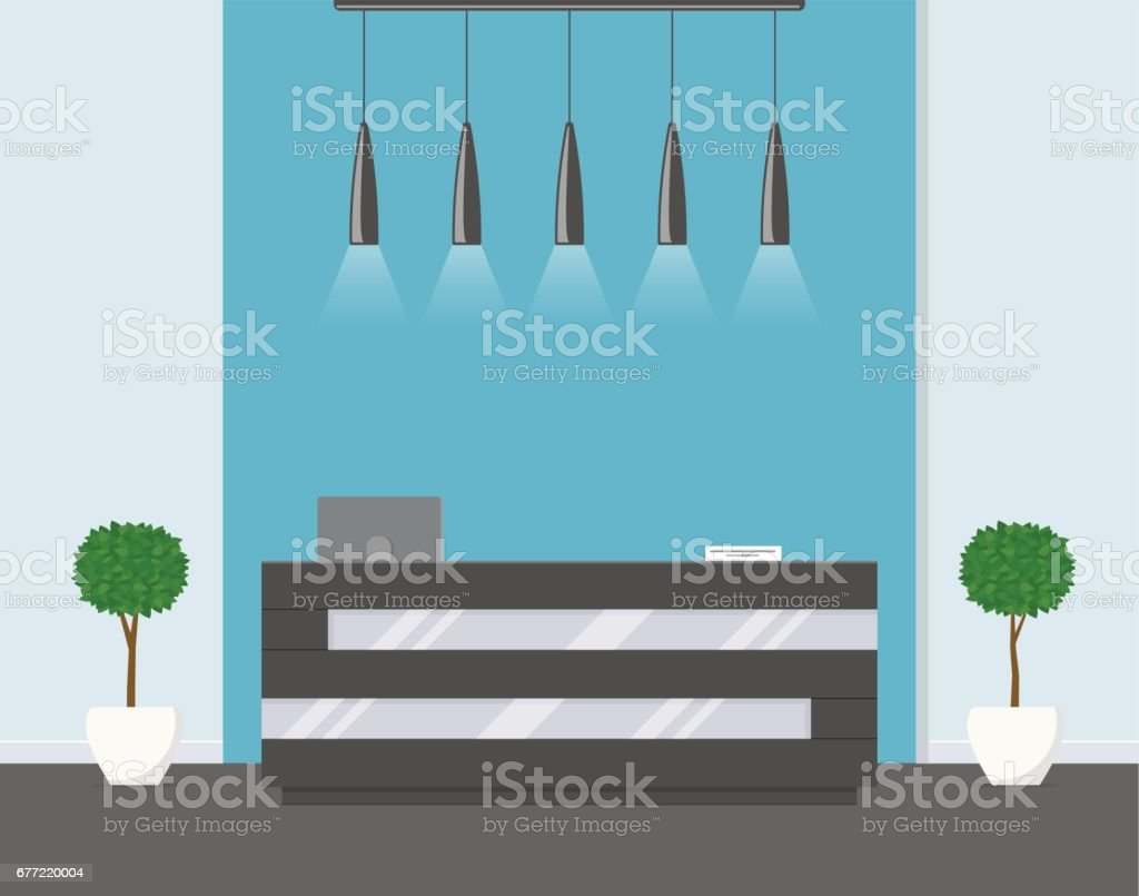 Reception in modern office. Business office, clinic or hotel interior in blue colors with flowers and reception desk. - ilustración de arte vectorial