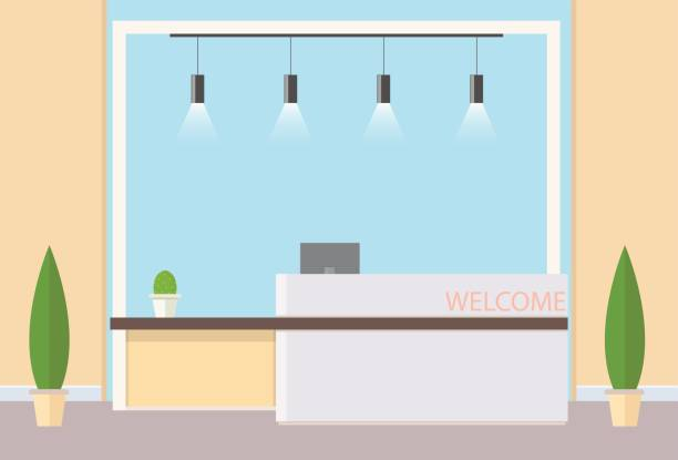 reception in modern office - hotel reception stock illustrations