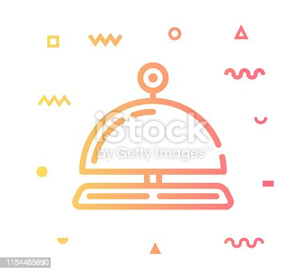 Reception outline style icon design with decorations and gradient color. Line vector icon illustration for modern infographics, mobile designs and web banners.