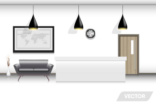 empfang lobby und interieur dekorative design, vektor, abbildung - rezeptionseingang stock-grafiken, -clipart, -cartoons und -symbole