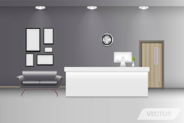 reception lobby and interior decorative, vector design - hotel reception stock illustrations