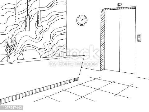 Reception lobby interior graphic black white sketch illustration vector