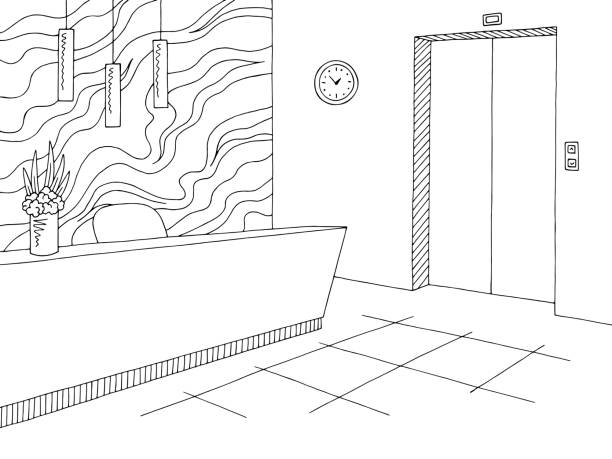 resepsiyon lobi iç grafik siyah beyaz eskiz illüstrasyon vektör - hotel reception stock illustrations