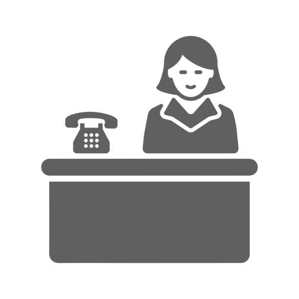 受付、受付、グレー、ロビー、オフィス、サービスアイコン - 窓口点のイラスト素材/クリップアート素材/マンガ素材/アイコン素材