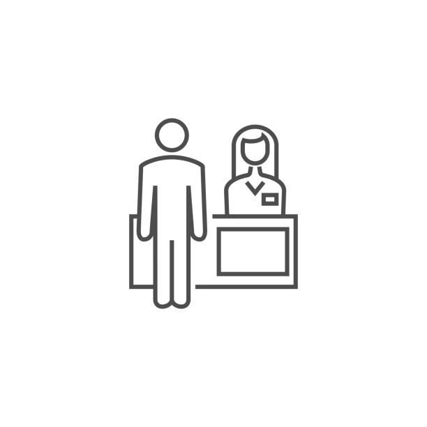 resepsiyon ilgili vektör satırı simgesi. - hotel reception stock illustrations