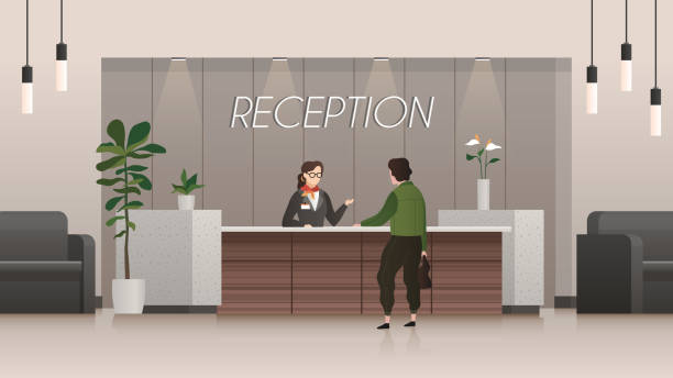 reception service. receptionist and customer in hotel lobby hall, people travelling. business office flat vector concept - hotel reception stock illustrations
