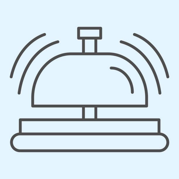 значок тонкой линии приема. инвентарь отеля, звук внимания колокольного звона. концепция дизайна вектора horeca, пиктограмма стиля на белом фо - hotel reception stock illustrations