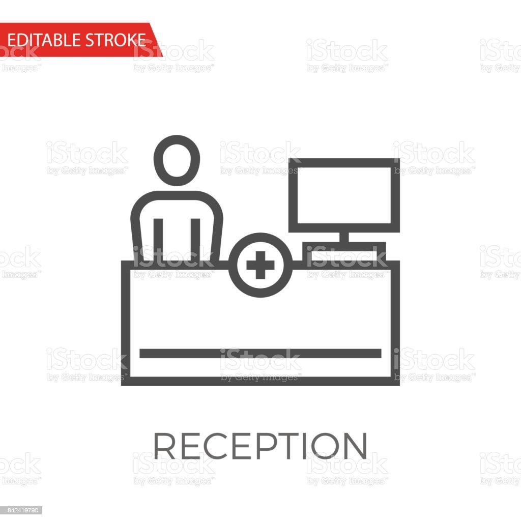 Icono de Vector de delgada línea de recepción. - ilustración de arte vectorial