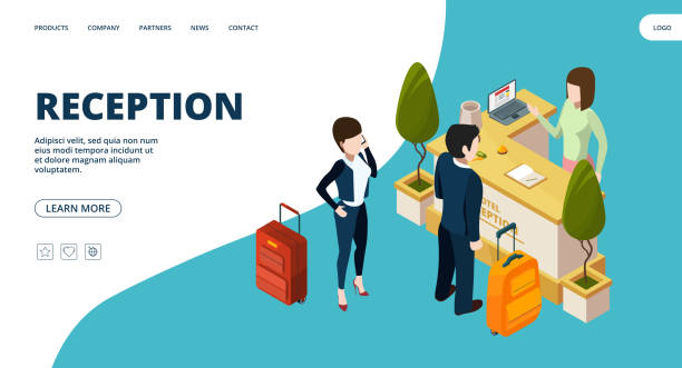reception web page. isometric hotel info point landing. vector people in hotel - hotel reception stock illustrations
