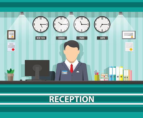 Reception With Receptionist Interior Stock Illustration