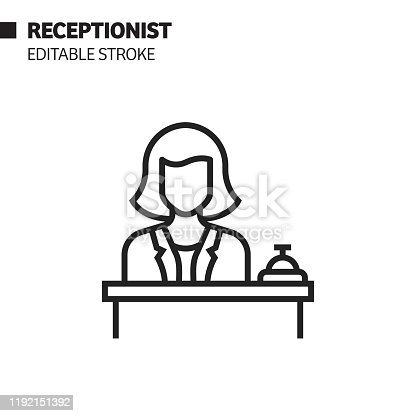 istock Receptionist Line Icon, Outline Vector Symbol Illustration. Pixel Perfect, Editable Stroke. 1192151392