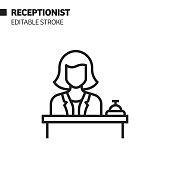 istock Receptionist Line Icon, Outline Vector Symbol Illustration. Pixel Perfect, Editable Stroke. 1192151392