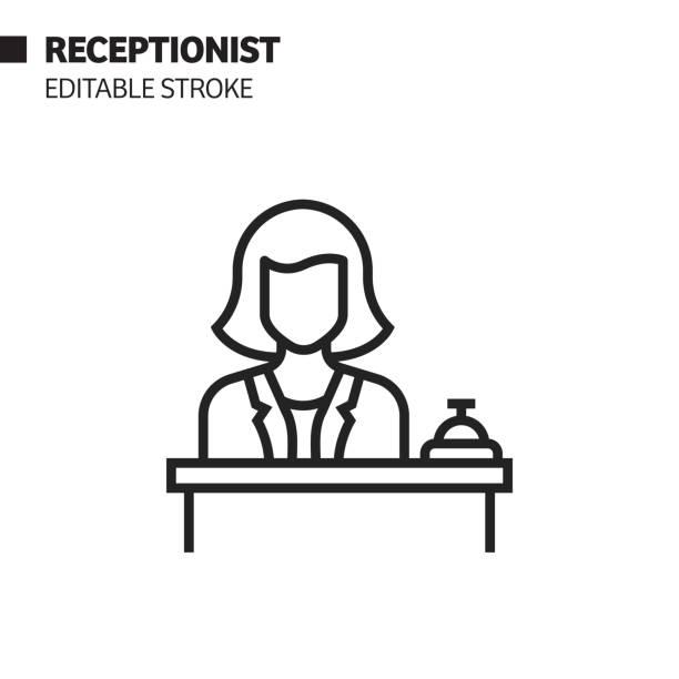 resepsiyonist satır simgesi, anahat vektör sembolü i̇llüstrasyon. piksel mükemmel, editable stroke. - hotel reception stock illustrations