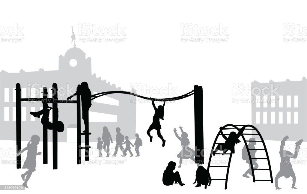 休憩時間の遊び場 ベクターアートイラスト