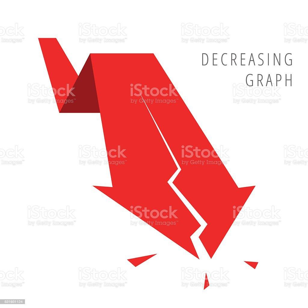 Recession Business. Red Decreasing graph arrow vector art illustration