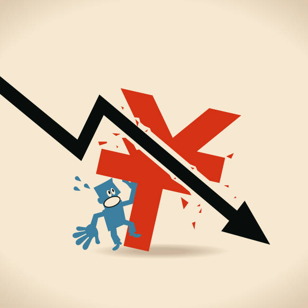 Recession, falling black arrow crashed Chinese currency sign (Yuan, Ren Min Bi, RMB, China Yuan, CNY), businessman got a shock Blue Little Guy Characters Full Length Vector art illustration.Copy Space. taiwanese currency stock illustrations