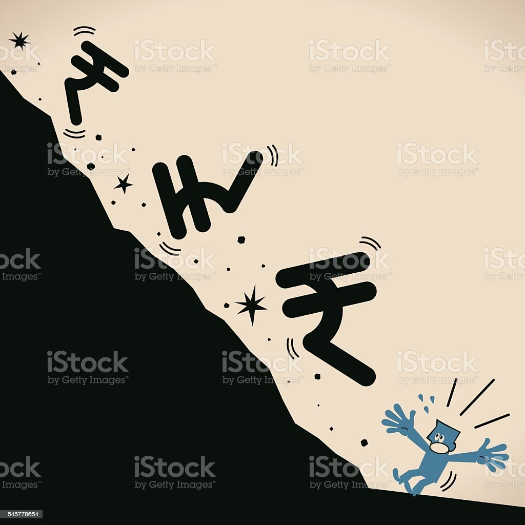 Recession falling Rupee currency sign hitting fresh low, investor escape vector art illustration