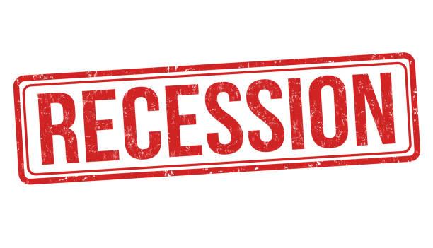 stockillustraties, clipart, cartoons en iconen met recessie teken of stempel - recessie