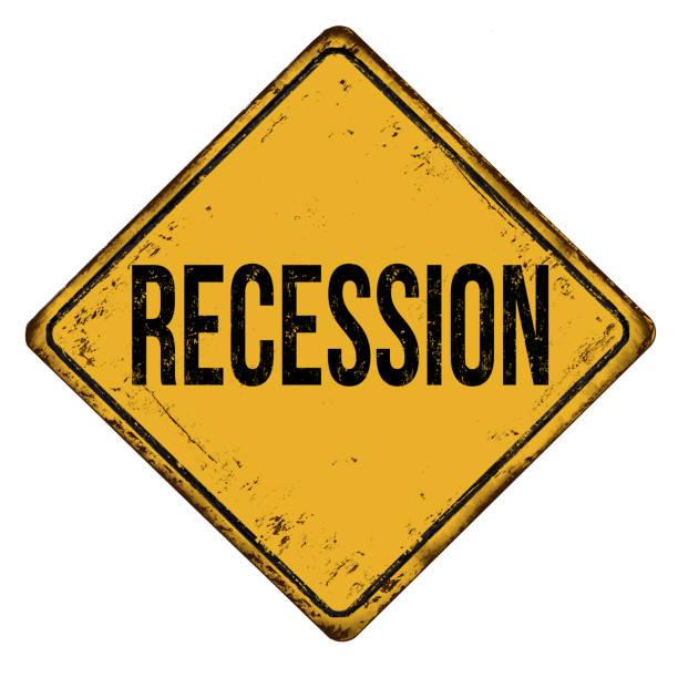 stockillustraties, clipart, cartoons en iconen met recessie vintage roestige metalen teken - recessie