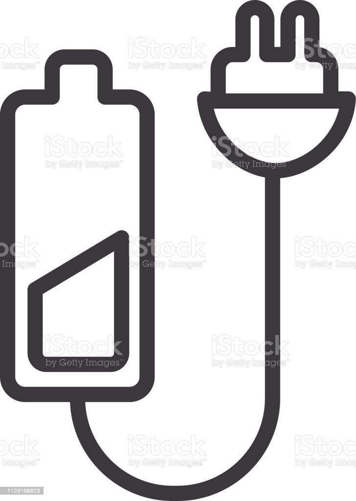 Batterie Rechargeable Avec Prise Plate Simple Contour Ligne