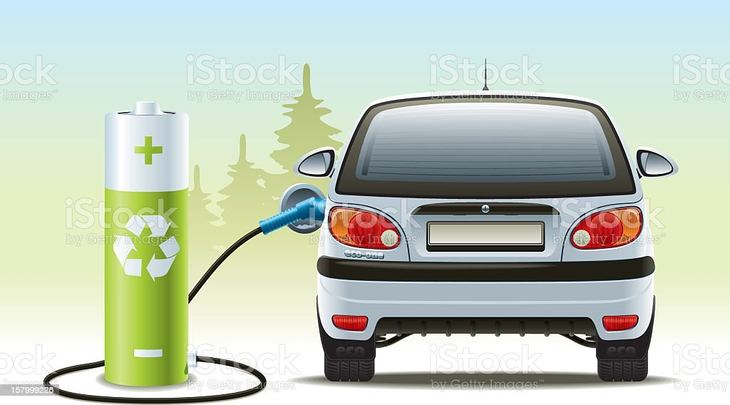 Rechargeable car illustration with green recycled energy vector art illustration