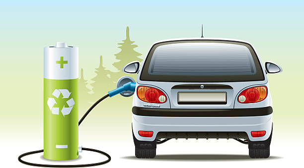 Rechargeable car illustration with green recycled energy Illustration of a renewable source of energy to propel the vehicle rechargeable battery stock illustrations