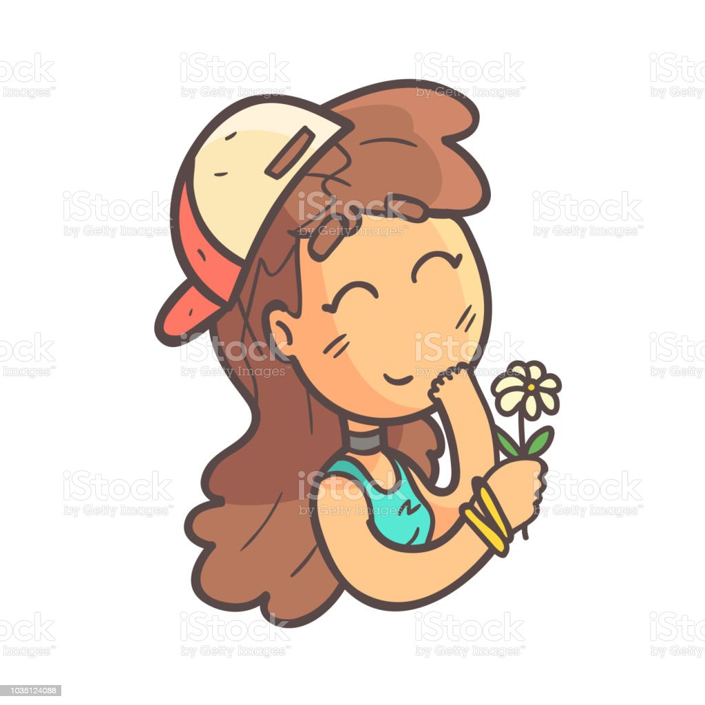 Recieving A Flower Girl In Cap, Choker And Blue Top Hand Drawn Emoji Cool Outlined Portrait vector art illustration