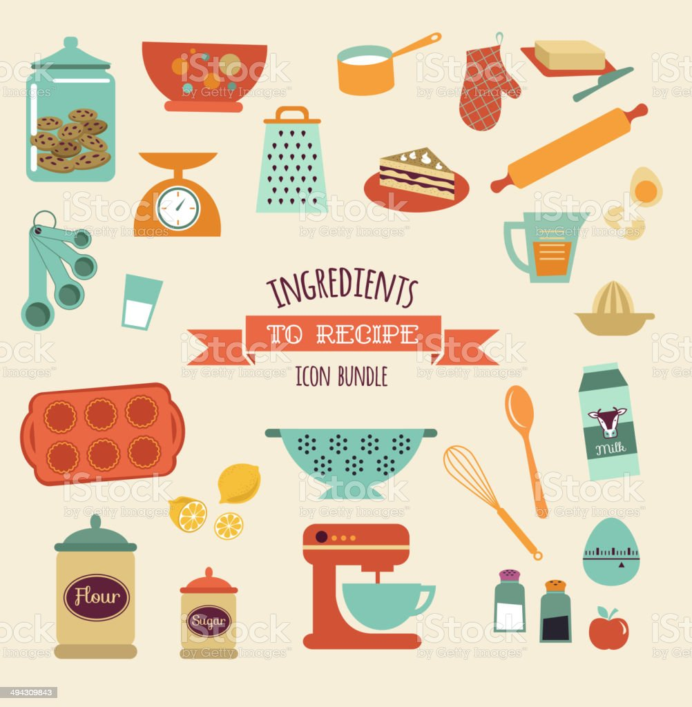 recipe and kitchen vector design, icon set vector art illustration