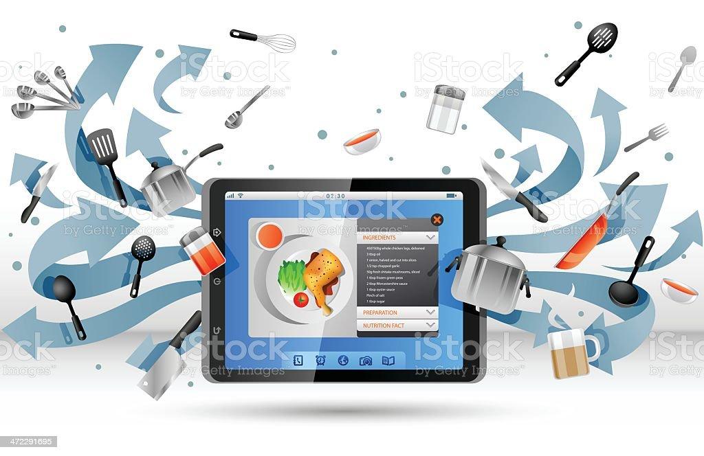 Recipe app on Tablet PC royalty-free stock vector art
