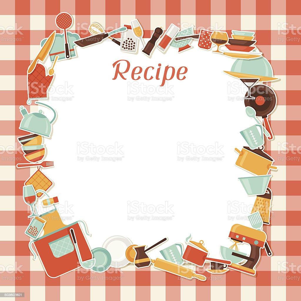 Rezept Hintergrund Mit Küche Und Restaurant Küchenutensilien Stock ...