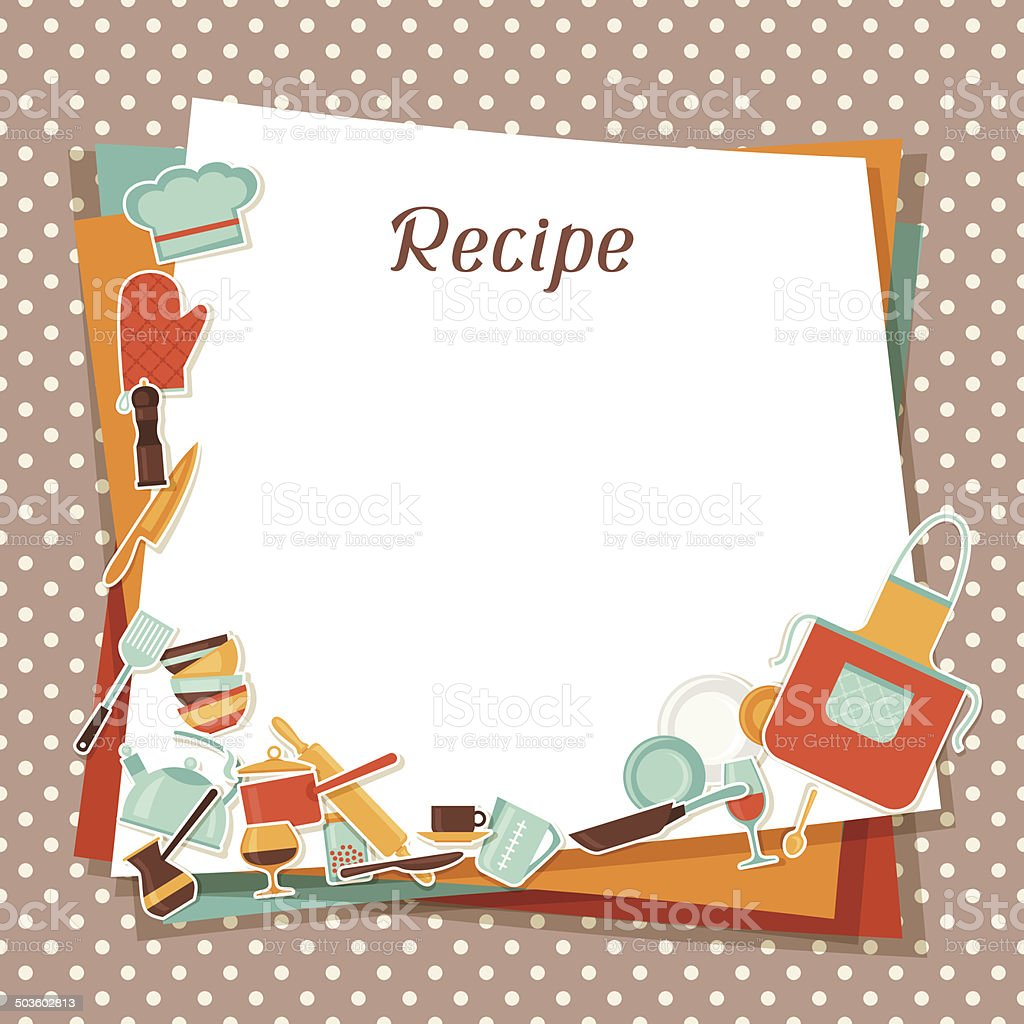 Recipe Background With Kitchen And Restaurant Utensils Stock Vector