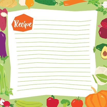 Recipe blank template vector illustration