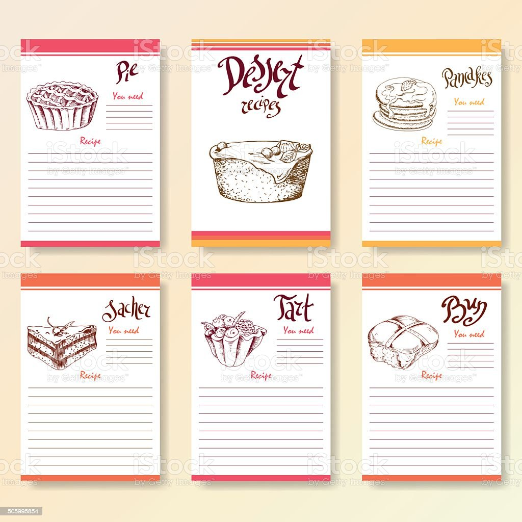 Recipe blanks collection. Dessert objects with hand dawn lettering. vector art illustration