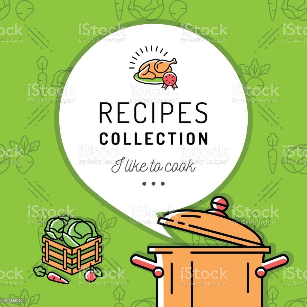 Recipe Book Cookbook Cover Menu Boiling Pot Steam Icon Culinary And