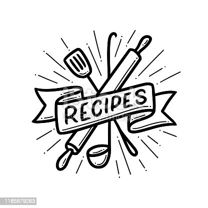 Recipe book hand drawn cover emblem label print. Crossed kitchen utensil under the ribbon. Vector illustration.