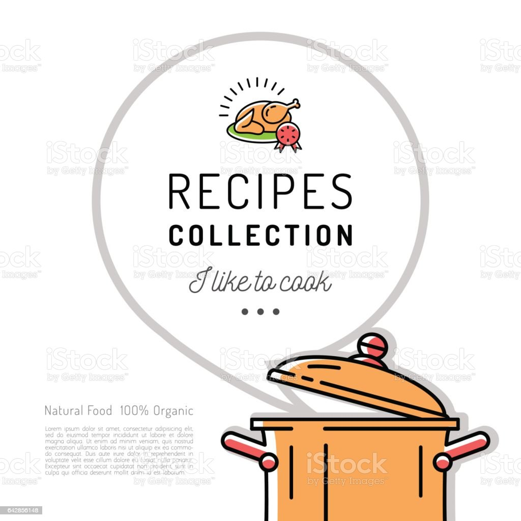 recipe book menu template cookbook cover boiling pot speech bubble with space for text