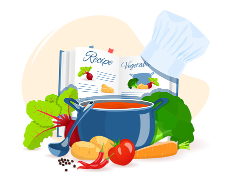 Recipe book, pan with soup, vegetables. Recipes, homemade food, food preparation, learning concept.