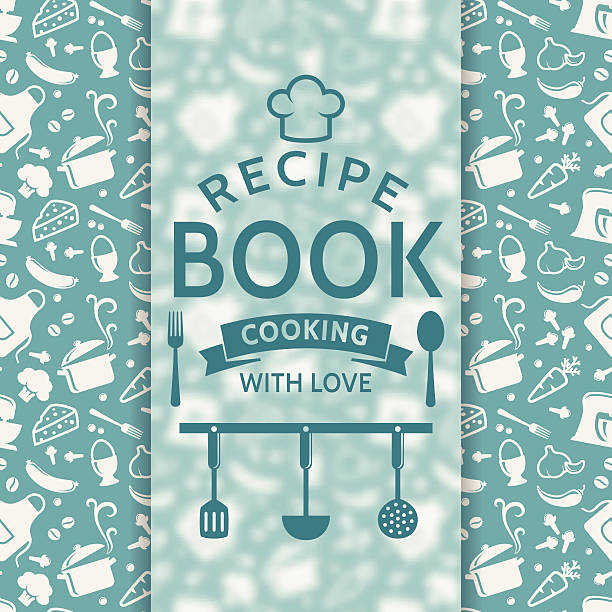 Recipe book. Vector card. Recipe book. Cooking with love. Recipe card with silhouette culinary symbols and typographic badge. Vector background in blue and white colors. cooking designs stock illustrations