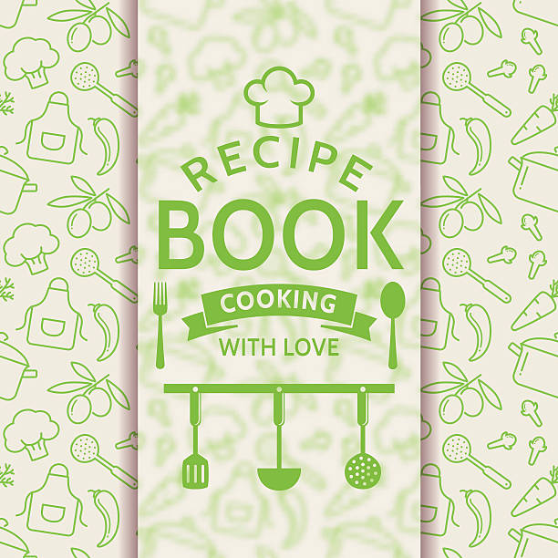 Cookbook Cover Vector ~ Royalty free recipe book cover background clip art vector