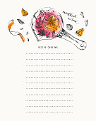Recipe card template with ink and watercolor mulled wine recipe ingredients illustration. Background design with space for notes. Planner and culinary book page.