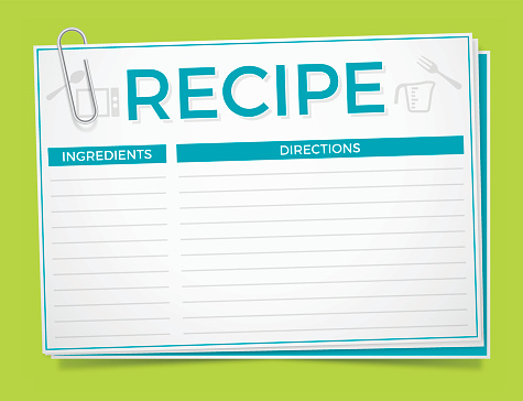 Blank recipe card with paperclip. EPS 10 file. Transparency effects used on highlight elements.