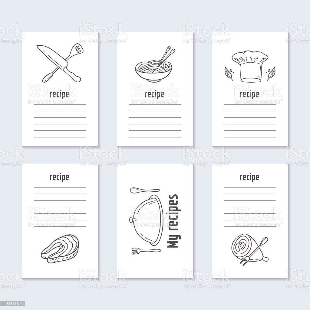 Recipe cards collection with hand drawn food vector art illustration