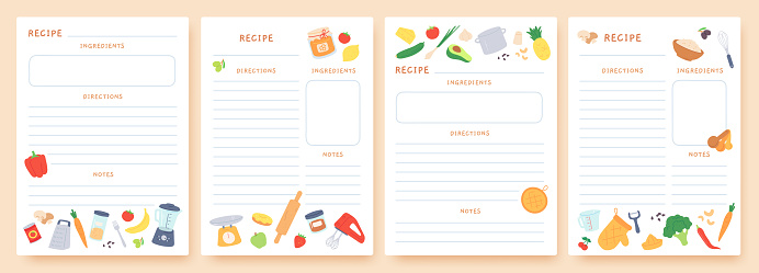 Recipe cards. Pages for culinary book decorated with ingredients and kitchen utensils. Food preparation icons. Cook card template vector set. Place for directions and notes with appliances and product