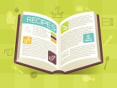 Recipe cookbook baking and cooking concept illustration. EPS 10 file. Transparency effects used on highlight elements.