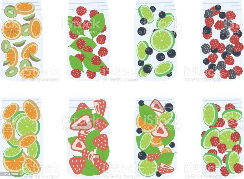 Rezeptdetoxwasserrezepte Obst Infundiert Wasser Stock Vektor Art Und