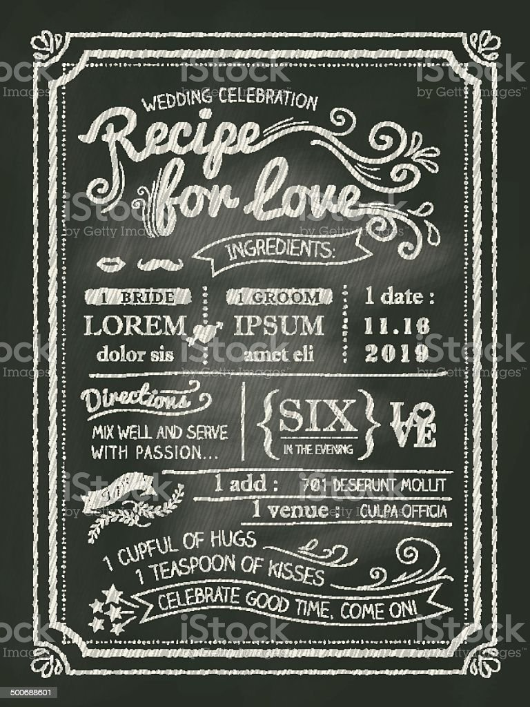 Recipe for love chalkboard Wedding Invitation card vector art illustration
