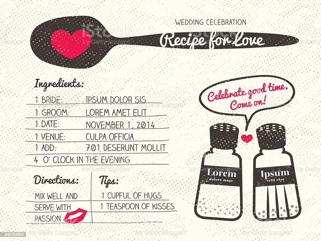 Recipe for Love creative Wedding Invitation vector art illustration