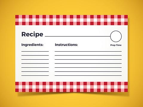 Recipe ingredients food preparation instruction card