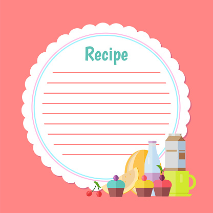 Recipe List with Dessert and Drink, Cake Vector